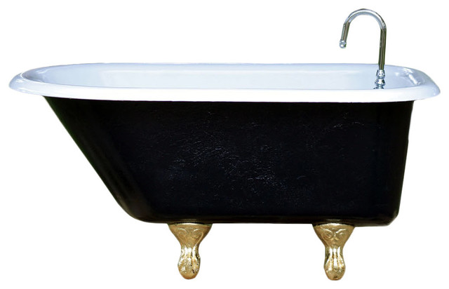 Consigned 4 Ft Refinished Black White Ladies Cast Iron Clawfoot Tub Gol