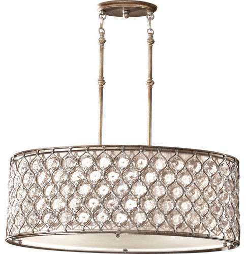 Lucia Burnished Silver Three-Light Oval Drum Pendant contemporary-pendant-lighting