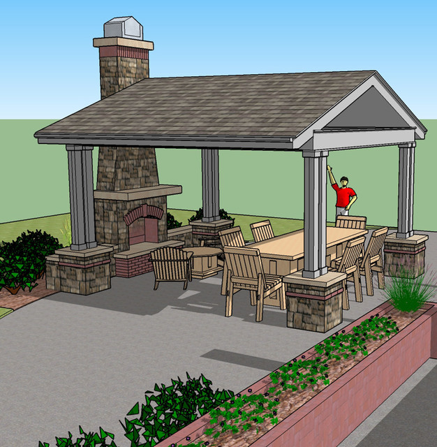 Our graphics renderings site and landscape plan for Outdoor gazebo plans with fireplace