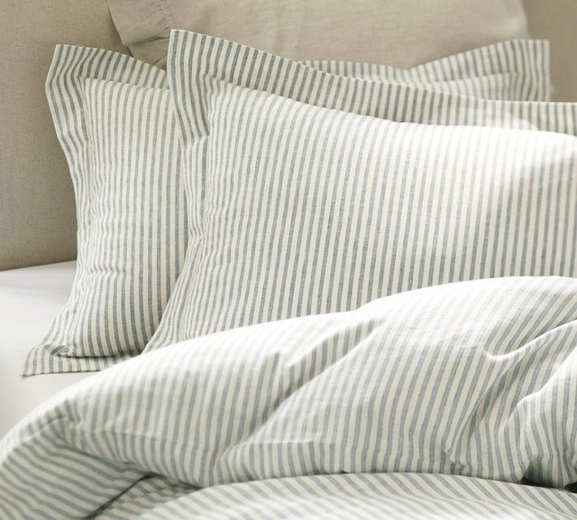 Vintage Ticking Stripe Duvet Cover & Sham, Blue traditional duvet covers