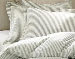 Vintage Ticking Stripe Duvet Cover & Sham, Blue traditional-bedding