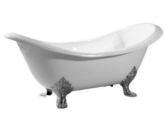 72 Inch Cast Iron Double Slipper Clawfoot Tub - Randolph Morris 72 Inch Cast Iron Double Slipper Clawfoot Tub No Drillings