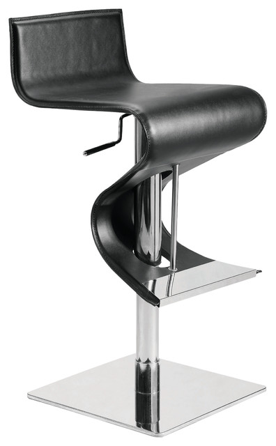 Portland Black Leather Adjustable Bar Counter Stool by Nuevo - HGAR138 modern-bar-stools-and-counter-stools