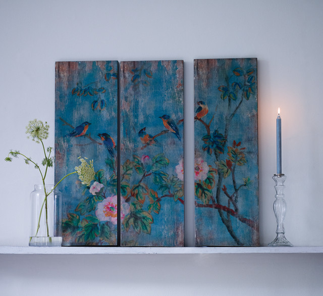 Bird And Flowers Wooden Wall Panels Contemporary