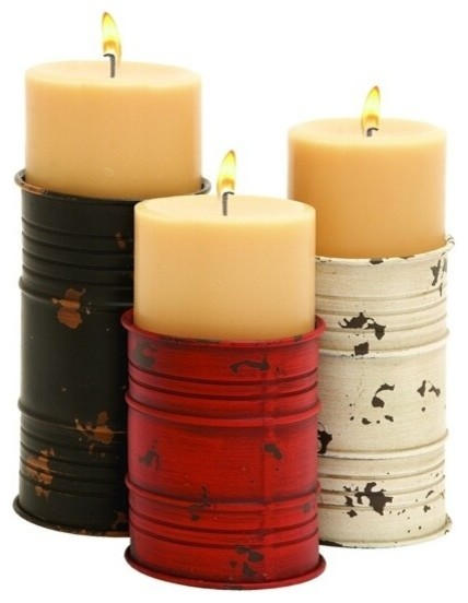 Simple Design Metal Candle Holder in Cylindrical Shape- Set of 3 rustic-candleholders