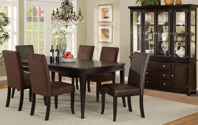 Chairs Chair Bench 7 Pieces Dark Cherry Wood Classic Formal Dining Room Set