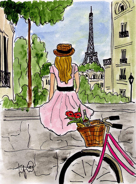 Bicycle Touring Paris Painting by Fifi Flowers traditional artwork