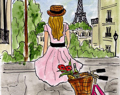 """""""Bicycle Touring Paris"""" Painting by Fifi Flowers traditional-artwork"""