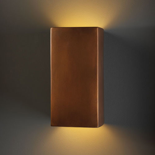 Ambiance Antique Copper Large Rectangle Two-Light Bathroom Wall Sconce modern-wall-lighting