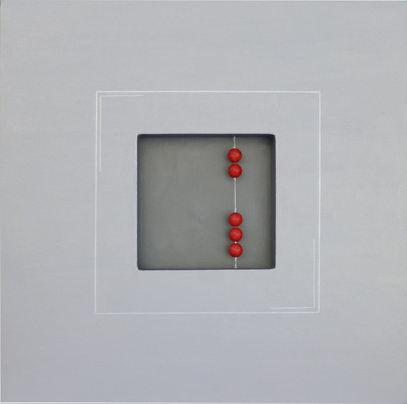 """Abstract Painting, Grey Silver with Red Ceramic Beads, 3D Art 24"""" x 24"""" x 1.5"""" contemporary"""