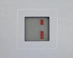"Abstract Painting, Grey Silver with Red Ceramic Beads, 3D Art 24"" x 24"" x 1.5"" contemporary"