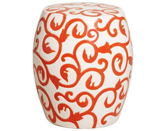 Orange and White Ceramic Garden Stool traditional-outdoor-decor