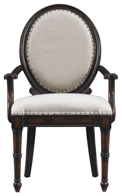 European Farmhouse Oval Back Upholstered Arm Chair ...