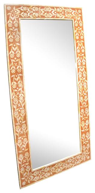 Dusty Pink Flower Bone Inlay Mirror - Wall Mirrors - london - by Rocomara