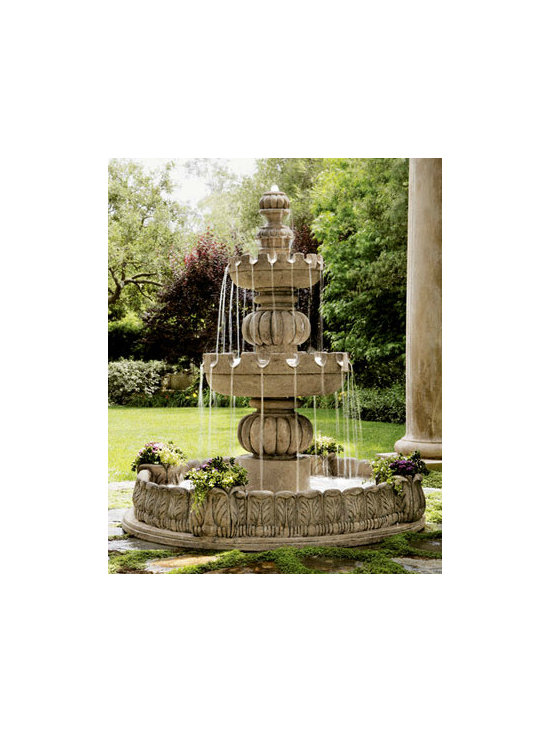 "Three-Tier ""Castle"" Fountain - What's better than to invest in an impressive three-tier fountain? This handcrafted granite beauty features four planters — a great spot to showcase prize-winning flowers. Put it in your front yard for some major curb appeal, or pick a spot in your backyard for an enchanting secret garden."
