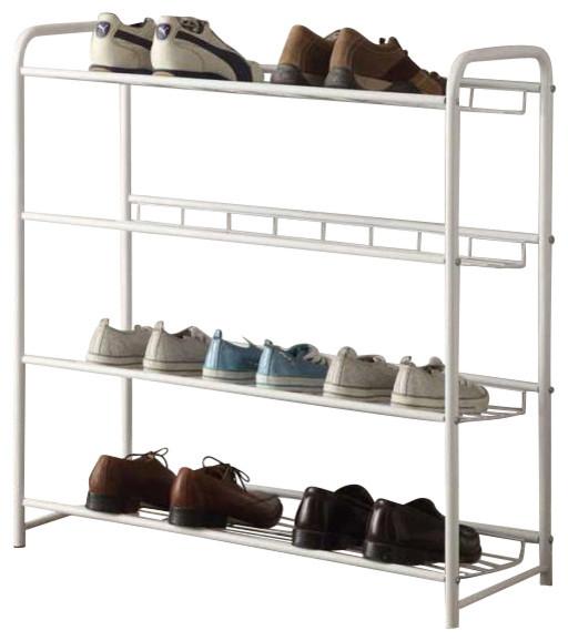 Casual Free Standing White Metal Storage Organizer Shelf Shoe Tower Rack - Contemporary - Shoe ...