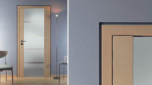 Flush with the wall reveal wood glass c35 for Flush interior wood doors