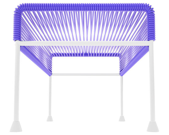 Adam Ottoman, White Frame With Purple Weave - Sleek woven vinyl makes this coffee table stand really pop. It's a great option for indoor and outdoor use since the vinyl is UV protected and the metal base is galvanized. The only challenge would be deciding on your favorite color top to pair with the crisp white base.