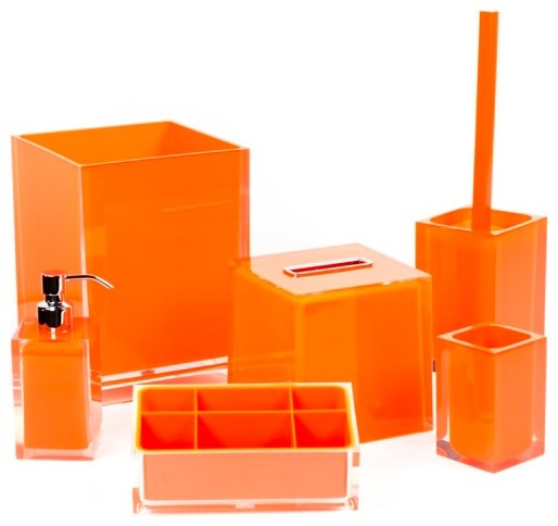 orange bathroom accessory set in thermoplastic resin