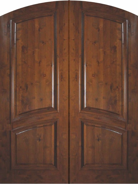 Slab entry double door 96 wood knotty alder 2 panel arch for Exterior door slab