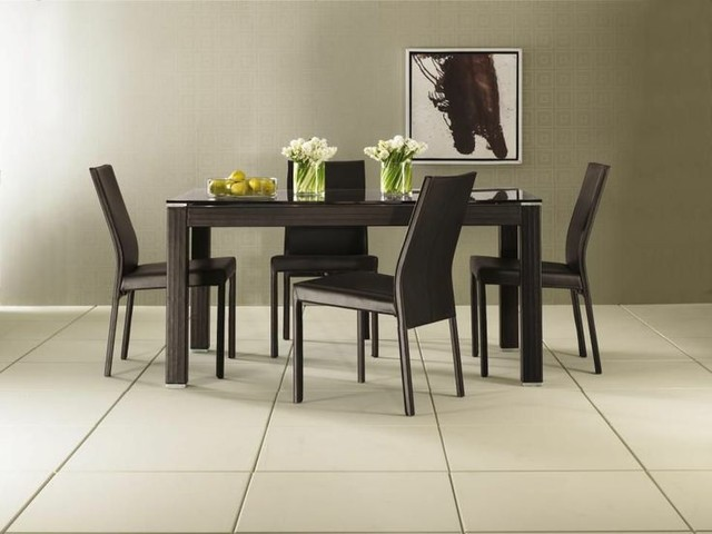 5 Pc Contempo Leather Rectangular Table Dining Room Set
