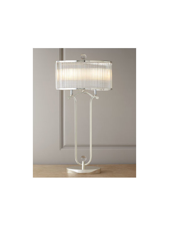 "John-Richard Collection - John-Richard Collection ""Metro"" Crystal Lamp - Distinctive lamp adds shimmer and shine to room lighting. The shade made of oval reeded-crystal rods adds to the drama. From the John-Richard Collection. Handcrafted of nickel-plated steel, reeded-crystal rods, and metal. Double socket; in-line switch. Uses two 25-watt bulbs. 15""W x 10""D x 31""T"