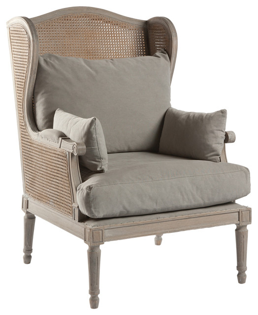 Christopher French Country Caned Back Linen Salon Wing  : farmhouse armchairs from www.houzz.com size 524 x 640 jpeg 67kB