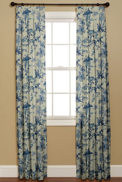 Inverted Box Pleat Curtain Yosca Blue Asian Curtains