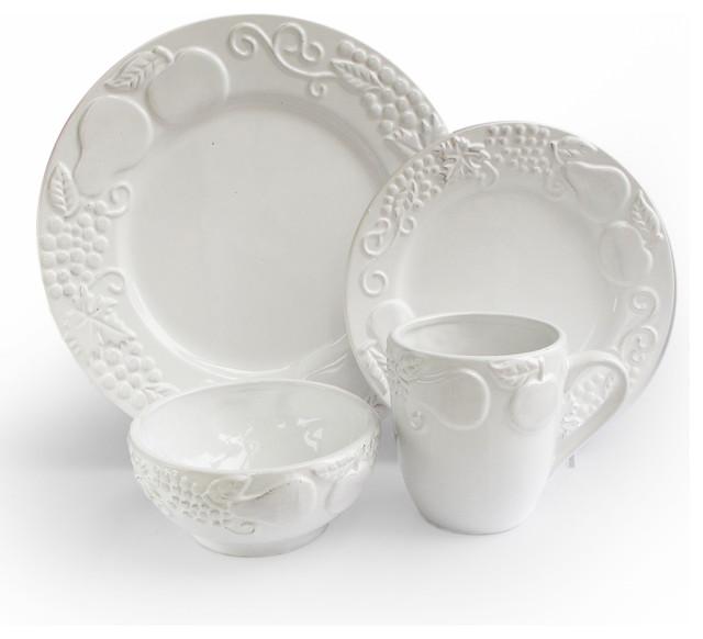 Frutta 16 Piece Dinnerware Set, White traditional-dinnerware-sets