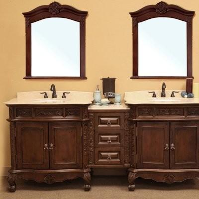 Bellaterra Trento 84.9-in. Medium Walnut Double Bathroom Vanity with Bridge and modern-bathroom-vanities-and-sink-consoles