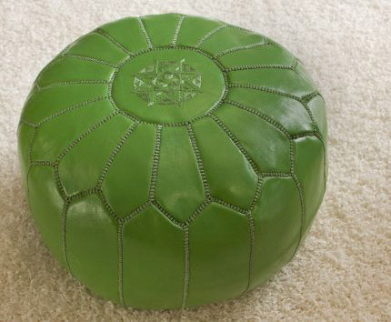 Green Moroccan Ottoman mediterranean-footstools-and-ottomans