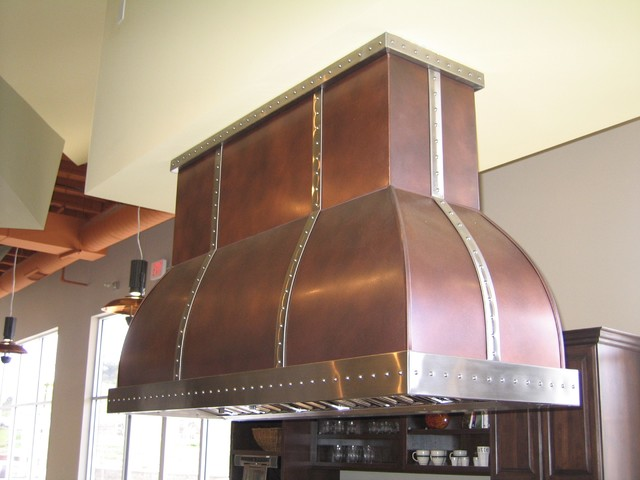 Rustic copper and antique brass island range hood modern range hoods
