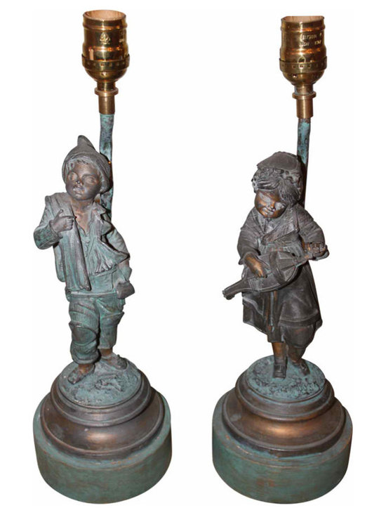 Figural Lamps - Pair of vintage metal figurines of a boy & girl French mounted into lamps. They are newly wired and in working condition. They would be charming accent lamps in any decor.