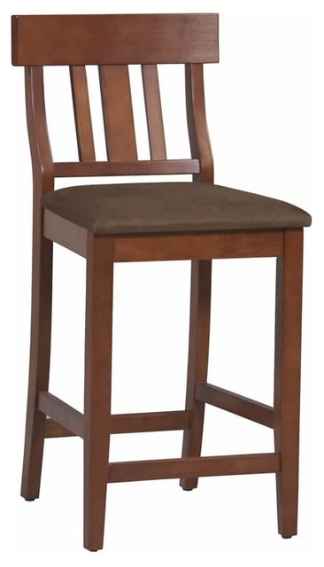 "Linon Torino Slat Back Counter Stool 24"" in Dark Cherry transitional-bar-stools-and-counter-stools"