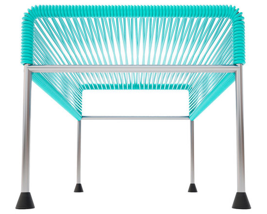 Adam Ottoman, Chrome Frame With Turquoise Weave - Sleek woven vinyl makes this coffee table stand out from the crowd. It's a great option for indoor and outdoor entertaining since the vinyl is UV protected and the metal base is galvanized. The only challenge would be deciding on your favorite color top to pair with the sleek chrome base.