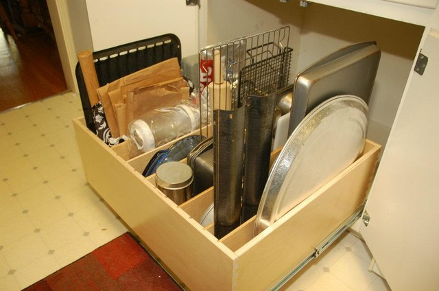 Pull Out Tray Bin - Traditional - Kitchen Drawer Organizers - louisville - by ShelfGenie of Kentucky