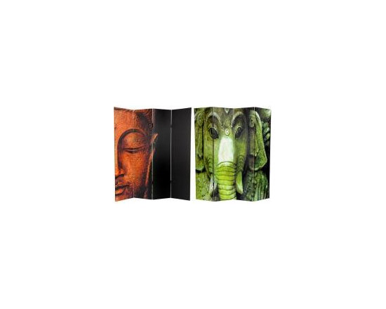Functional Art/Photography Printed on a 6ft Folding Screen - Four panel, 6ft folding folding screen of double sided images of Buddha and Ganesh