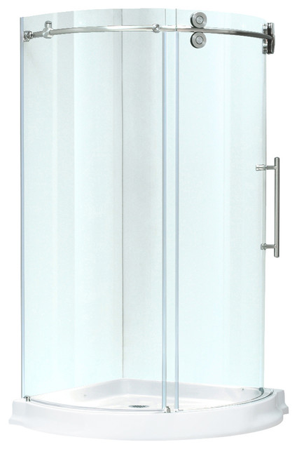 VIGO 36x36 Frameless Round 5 16 Steel Shower Enclosure Modern Shower St