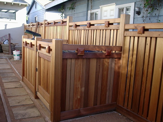 Mission hills craftsman fence craftsman san diego by for Craftsman style fence