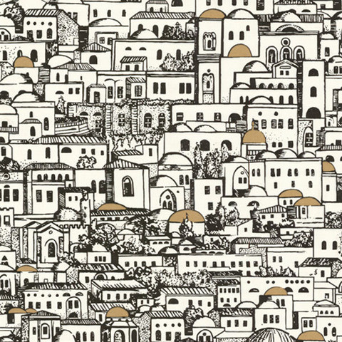 Fornasetti Mediterrania White Wallcovering mediterranean wallpaper