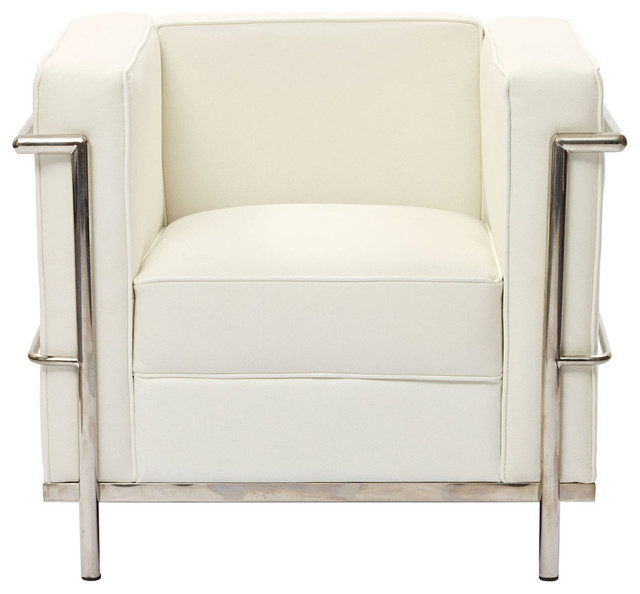 Le Corbusier Lc2 Arm Chair in Genuine White Leather contemporary-armchairs