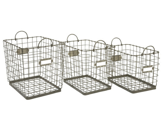 Imax - iMax Newbridge Wire Storage Baskets, Set of 3 - Great for linens, magazines and many other items, this collection of Newbridge wire baskets is perfect for a variety of storage uses.
