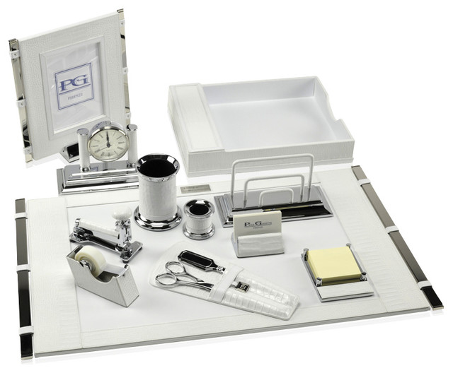 Premier Desk Set Collection Mini Crocodile White
