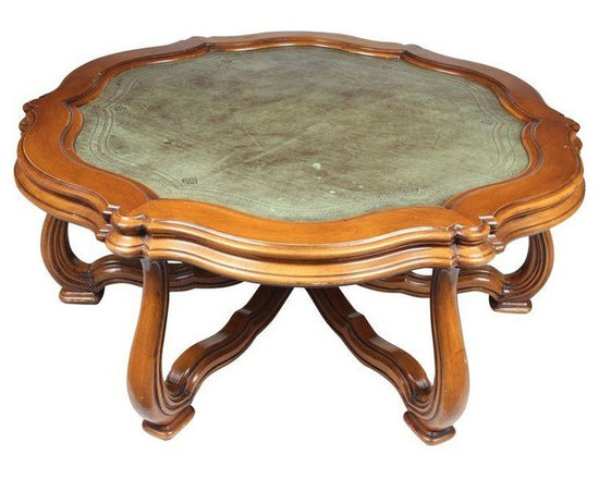 Pre-owned French Leather Top Coffee Table - French center table featuring a leather top with a gold leaf embossed border.