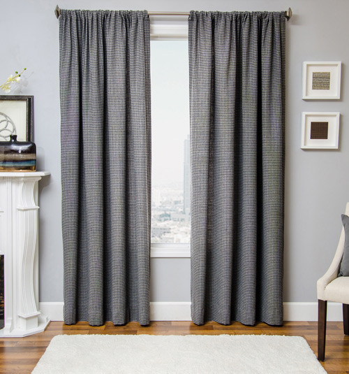 Blindsgalore Signature Drapery Panel: Gentleman's Houndstooth contemporary-curtains