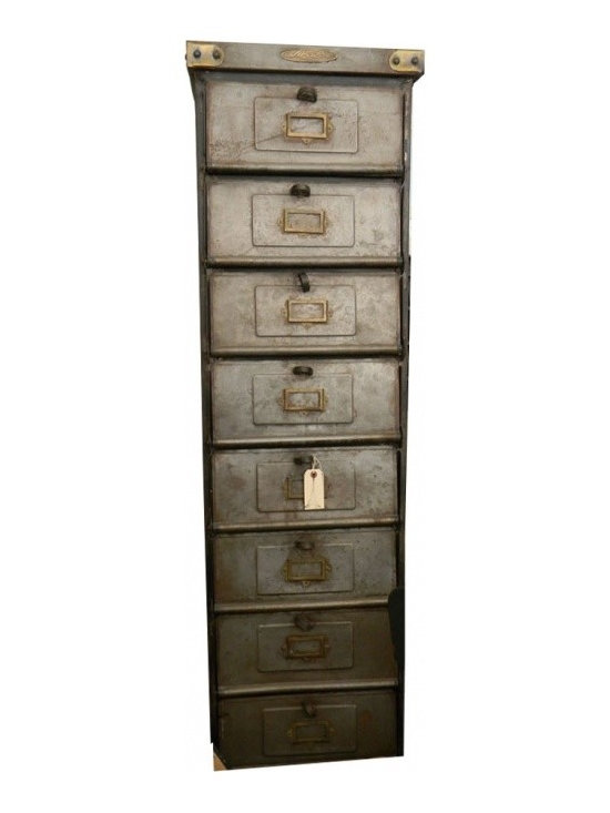 Metal Lockers - Industrial Cabinet with 10 doors/lockers. It is sturdy and made of steel.  It is new and fashioned after a German Postman's Cabinet.