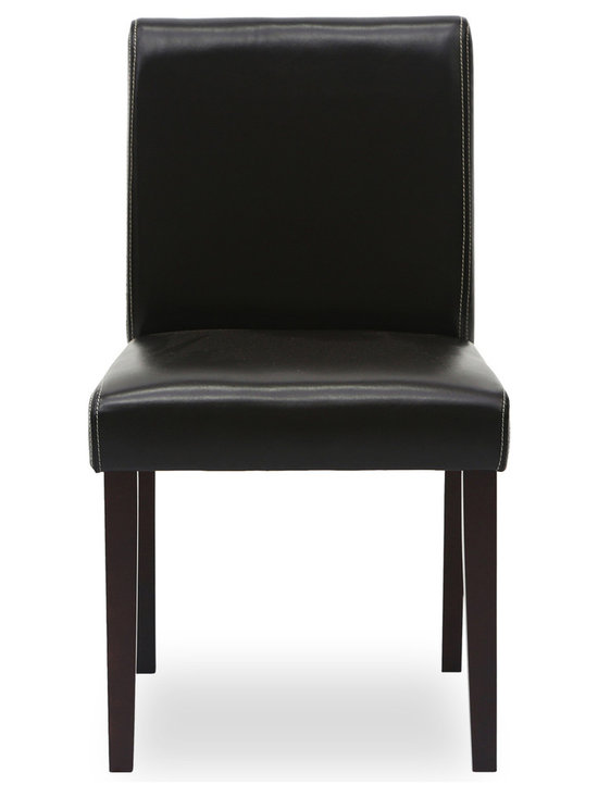 Bryght - Jovita Faux Leather Upholstered Dining Chair - This classic Parson's dining chair, with its bold and modern lines is sure to make a beautiful statement in your dining room. Its attractive sleek design, with a contrasting running stitch on its upholstery adds to its contemporary undertones