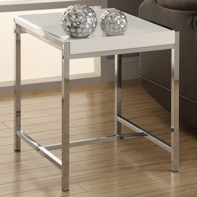White Acrylic/Chrome Metal Accent Table contemporary-side-tables-and-end-tables