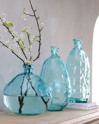 Short Turquoise Glass Vase traditional vases