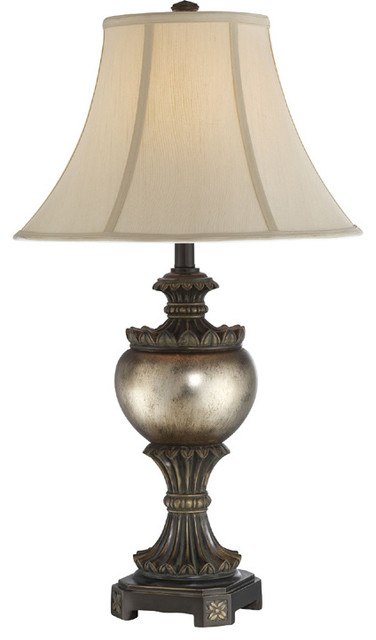 Table Lamp - Two Tone/Light Beige Fabric Shade traditional-table-lamps